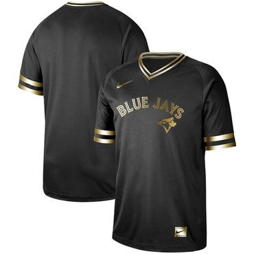 Blue Jays Blank Black Gold Authentic Stitched Baseball Jersey