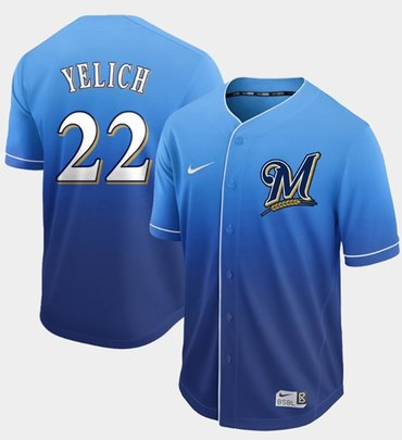 Brewers #22 Christian Yelich Royal Fade Authentic Stitched Baseball Jersey