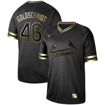 Cardinals #46 Paul Goldschmidt Black Gold Authentic Stitched Baseball Jersey
