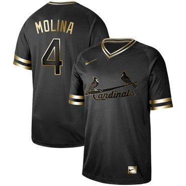 Cardinals #4 Yadier Molina Black Gold Authentic Stitched Baseball Jersey