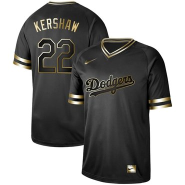 Dodgers #22 Clayton Kershaw Black Gold Authentic Stitched Baseball Jersey