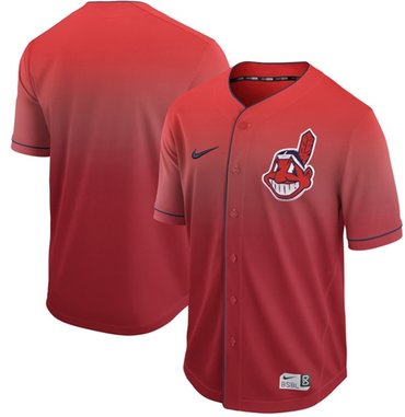 Indians Blank Red Fade Authentic Stitched Baseball Jersey