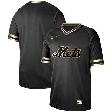 Mets Blank Black Gold Authentic Stitched Baseball Jersey