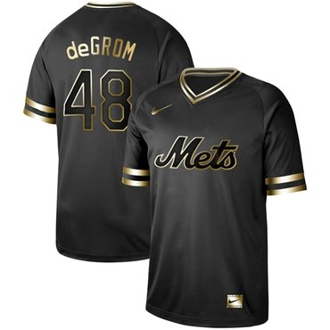 Mets #48 Jacob DeGrom Black Gold Authentic Stitched Baseball Jersey