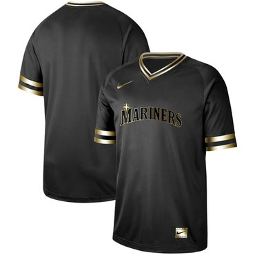 Mariners Blank Black Gold Authentic Stitched Baseball Jersey
