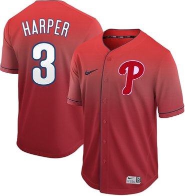 Phillies #3 Bryce Harper Red Fade Authentic Stitched Baseball Jersey