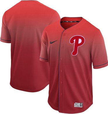 Phillies Blank Red Fade Authentic Stitched Baseball Jersey
