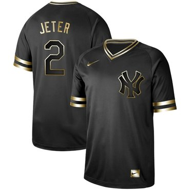 Yankees #2 Derek Jeter Black Gold Authentic Stitched Baseball Jersey