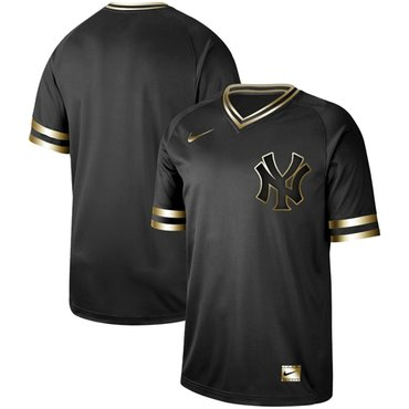 Yankees Blank Black Gold Authentic Stitched Baseball Jersey