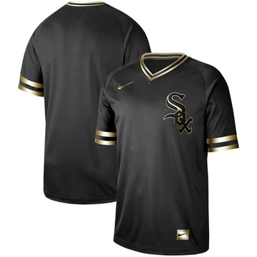 White Sox Blank Black Gold Authentic Stitched Baseball Jersey