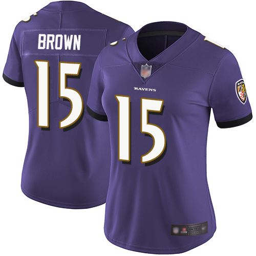 Ravens #15 Marquise Brown Purple Team Color Women's Stitched Football Vapor Untouchable Limited Jersey