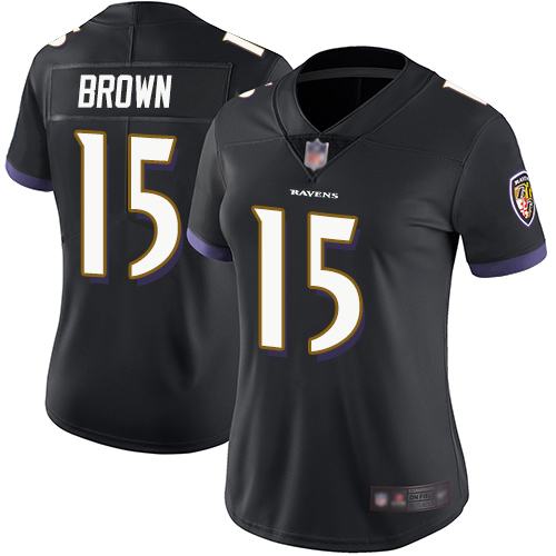 Ravens #15 Marquise Brown Black Alternate Women's Stitched Football Vapor Untouchable Limited Jersey