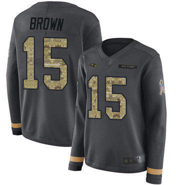 Ravens #15 Marquise Brown Anthracite Salute to Service Women's Stitched Football Limited Therma Long Sleeve Jersey