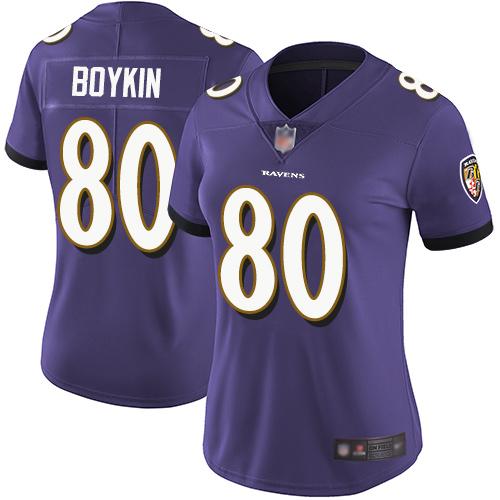 Ravens #80 Miles Boykin Purple Team Color Women's Stitched Football Vapor Untouchable Limited Jersey