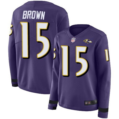 Ravens #15 Marquise Brown Purple Team Color Women's Stitched Football Limited Therma Long Sleeve Jersey