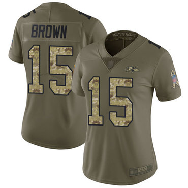 Ravens #15 Marquise Brown Olive Camo Women's Stitched Football Limited 2017 Salute to Service Jersey