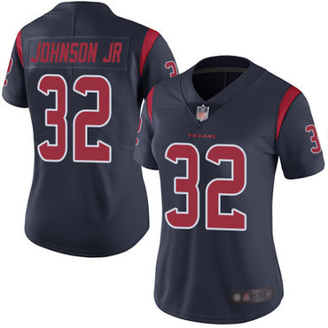 Texans #32 Lonnie Johnson Jr. Navy Blue Women's Stitched Football Limited Rush Jersey