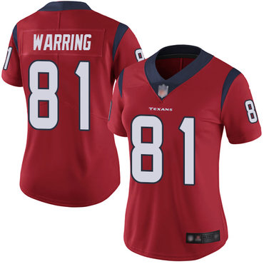 Texans #81 Kahale Warring Red Alternate Women's Stitched Football Vapor Untouchable Limited Jersey