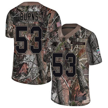 Panthers #53 Brian Burns Camo Men's Stitched Football Limited Rush Realtree Jersey