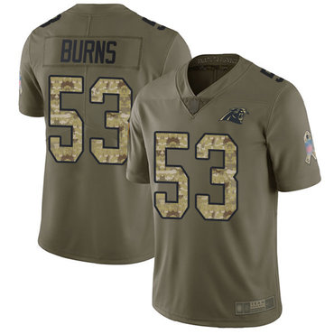 Panthers #53 Brian Burns Olive Camo Men's Stitched Football Limited 2017 Salute To Service Jersey