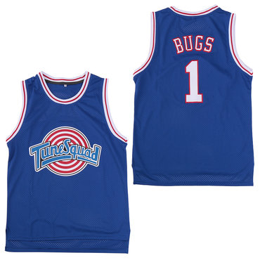 Tune Squad 1 Bugs Blue Stitched Movie Basketball Jersey