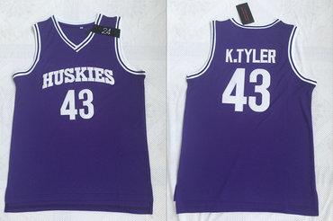 Huskies The 6th Marlon Wayans 43 Kenny Tyler Purple Stitched Movie Basketball Jersey