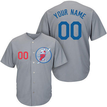 Dodgers Gray Men's Customized Cool Base New Design Jersey