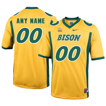 North Dakota State Bison Gold Men's Customized College Football Jersey
