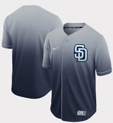 Padres Blank Navy Fade Authentic Stitched Baseball Jersey