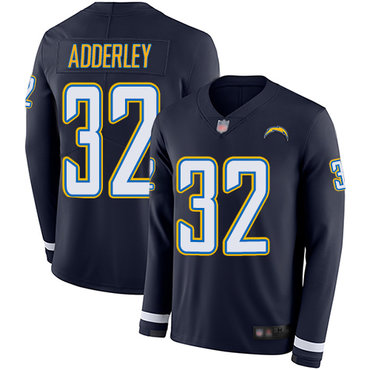 Chargers #32 Nasir Adderley Navy Blue Team Color Men's Stitched Football Limited Therma Long Sleeve Jersey