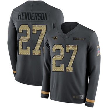 Rams #27 Darrell Henderson Anthracite Salute to Service Men's Stitched Football Limited Therma Long Sleeve Jersey
