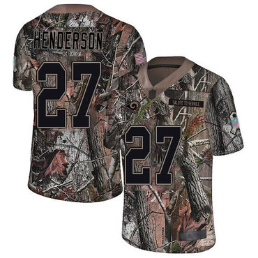 Rams #27 Darrell Henderson Camo Men's Stitched Football Limited Rush Realtree Jersey