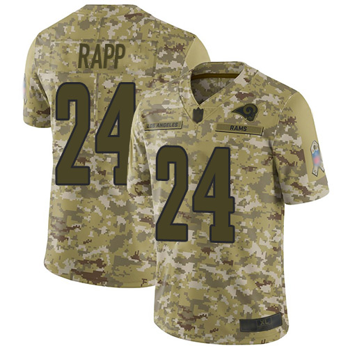 Rams #24 Taylor Rapp Camo Men's Stitched Football Limited 2018 Salute To Service Jersey