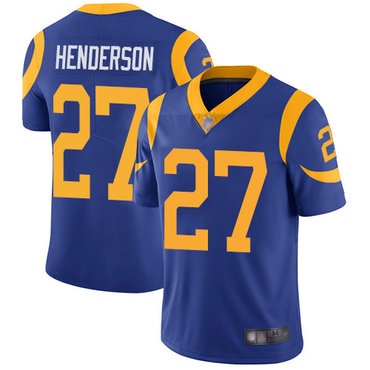 Rams #27 Darrell Henderson Royal Blue Alternate Men's Stitched Football Vapor Untouchable Limited Jersey
