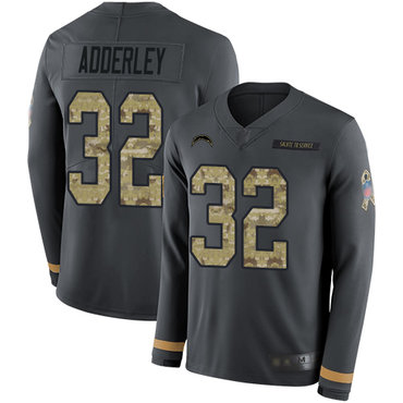 Chargers #32 Nasir Adderley Anthracite Salute to Service Youth Stitched Football Limited Therma Long Sleeve Jersey