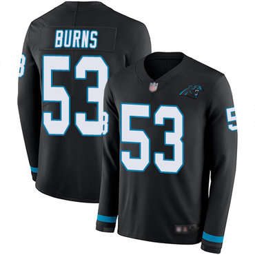 Panthers #53 Brian Burns Black Team Color Youth Stitched Football Limited Therma Long Sleeve Jersey