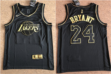 Lakers 24 Kobe Bryant Black Gold Nike Swingman Jersey