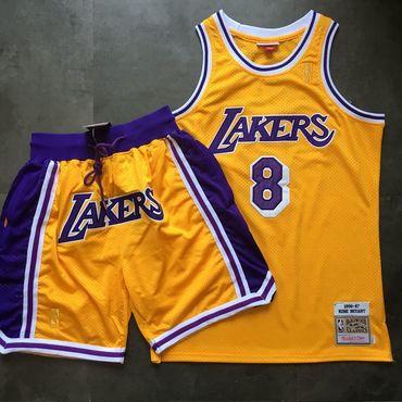 Lakers 8 Kobe Bryant Yellow 1996-97 Hardwood Classics Jersey(With Shorts)