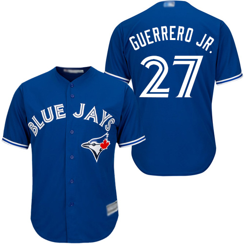 Men's Toronto Blue Jays #27 Vladimir Guerrero Jr. Blue New Cool Base Stitched Baseball Jersey