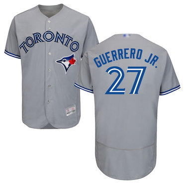 Men's Toronto Blue Jays #27 Vladimir Guerrero Jr. Grey Flexbase Authentic Collection Stitched Baseball Jersey