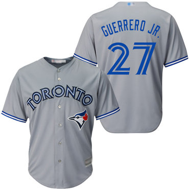 Men's Toronto Blue Jays #27 Vladimir Guerrero Jr. Grey New Cool Base Stitched Baseball Jersey