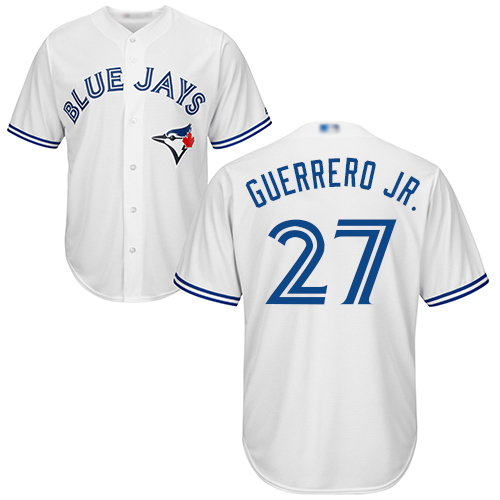 Men's Toronto Blue Jays #27 Vladimir Guerrero Jr. White New Cool Base Stitched Baseball Jersey