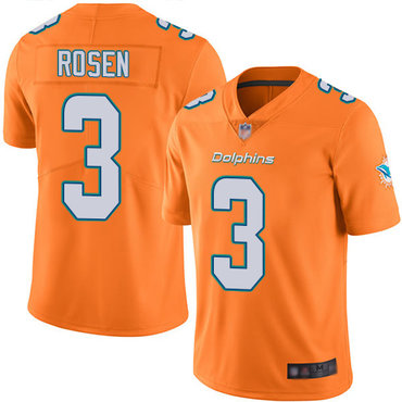 Dolphins #3 Josh Rosen Orange Men's Stitched Football Limited Rush Jersey