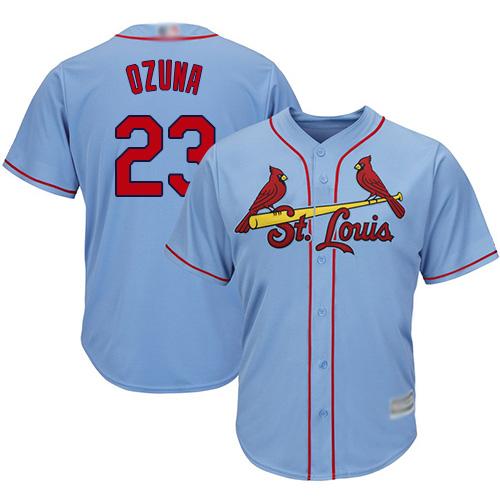 Men's St. Louis Cardinals #23 Marcell Ozuna Alternate Cool Base Light Blue Jersey