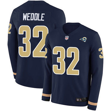 Rams #32 Eric Weddle Navy Blue Team Color Men's Stitched Football Limited Therma Long Sleeve Jersey