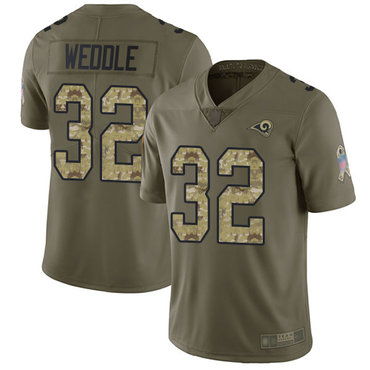 Rams #32 Eric Weddle Olive Camo Men's Stitched Football Limited 2017 Salute To Service Jersey