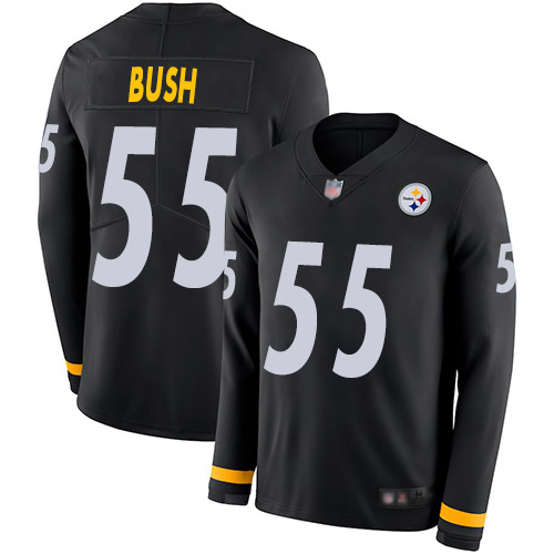 Steelers #55 Devin Bush Black Team Color Men's Stitched Football Limited Therma Long Sleeve Jersey