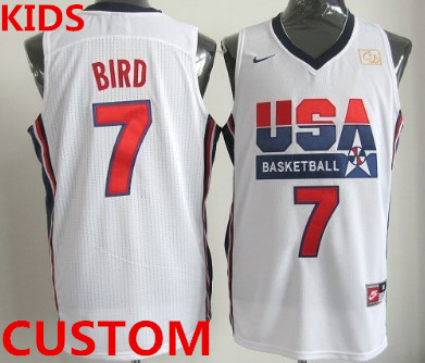 Kids Custom 1992 Olympics Team USA White Swingman Jersey