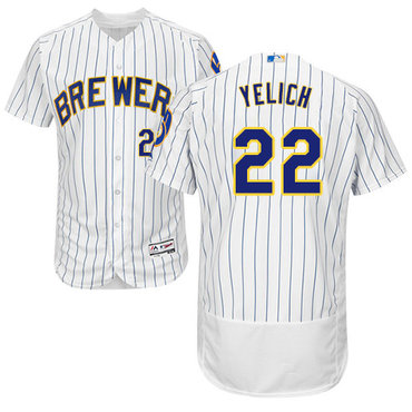 Brewers #22 Christian Yelich White Strip Flexbase Authentic Collection Stitched Baseball Jersey