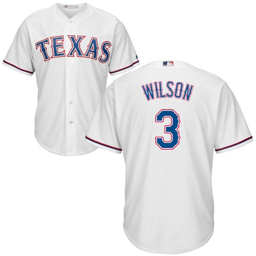 Rangers #3 Russell Wilson White Cool Base Stitched Youth Baseball Jersey
